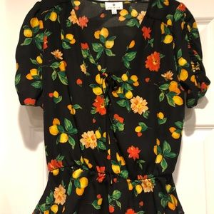 Peplum top with lemons & orange blossoms